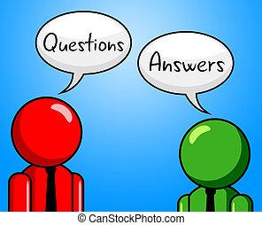 questions, réponses, indique, interrogation, demandé, et,...