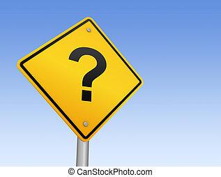 questions road sign      3d illustration