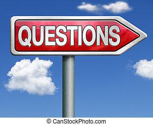 questions road sign arrow