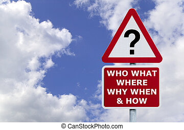 Questions signpost in the sky - Signpost with the six most...
