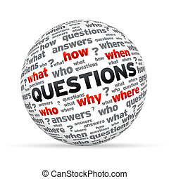 Questions Sphere - 3D Questions sphere isoldated on white...