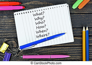 Questions text on notepad