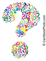 Questions - Editable vector question mark formed from many...