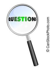 questions, verre, magnifier