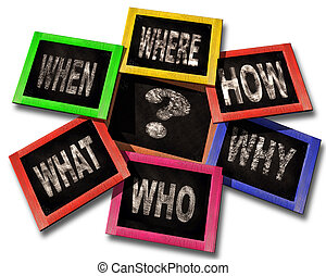 questions who where how why what when on chalkboards isolated background for education - 3d rendering