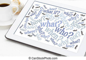 questions word cloud on digital tablet