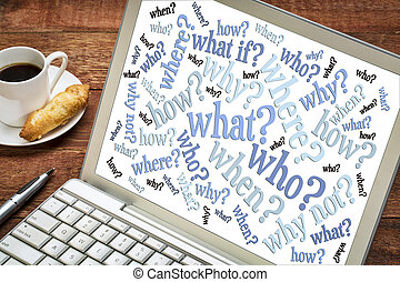 questions word cloud on laptop