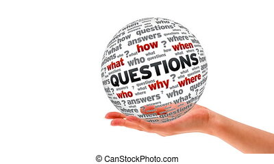 Questions word Sphere - A person holding a 3D questions word...
