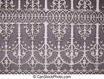 questo, immagine, mostra, il, modello, di, cancello ferro, dipinto, in, pianura, bianco, colors.