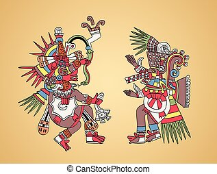 Quetzalcoatl and Tezcatlipoca, Aztec gods and twin brothers...