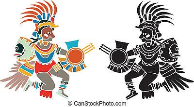 Quetzalcoatl stencil aztec