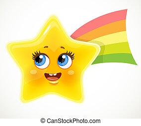 queue blanche, fond, mignon, isolé, coloré, dessin animé, étoile, sourire, arc-en-ciel