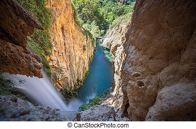 """queue cheval, vue, chute eau, sommet, piedra"""", de, """"monasterio"""