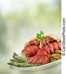queue, homard, grillé