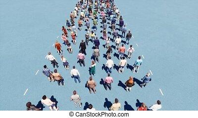 queue., long, store., branché, gens, ligne, distance