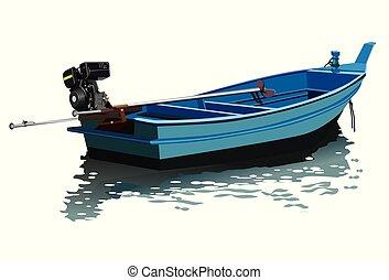 queue, vecteur, long, bateau