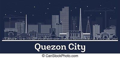 quezon, skyline, stadt, gebäude., philippinen, weißes, grobdarstellung