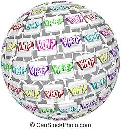 quién, qué, dónde, cuándo, por qué, cómo, esfera, preguntas, preguntar, respuestas