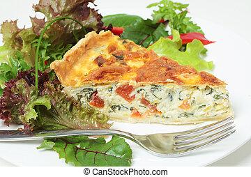 quiche, mit, salat, horizontal