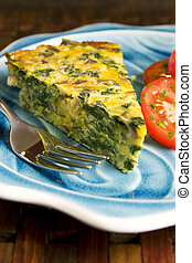 quiche, paddenstoel, spinazie