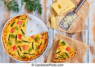 quiche stuffed with Salmon,green bean - french quiche with...
