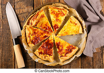quiche with bacon, cheese and egg