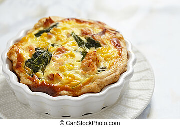 Healthy quiche with salmon, spinach and corn