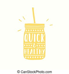 Quick and healthy. Jar silhouette vector hand drawn illustration
