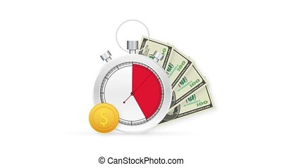 Quick credit. Clock and bag, time is money, fast loan, payment period, savings account. Motion graphics.