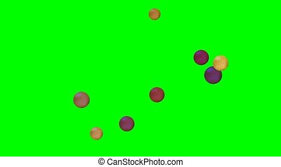 Quick flying small golden and metallic balls with cracked surface on green screen, video background for entertainment business, sci-fi thema, movement of mechanical particles,