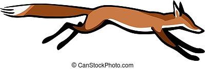 vector illustration a red fox running fast