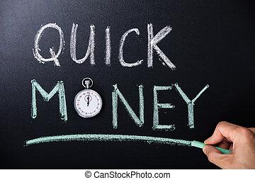 Quick Money Concept Written On Blackboard - Quick Money...