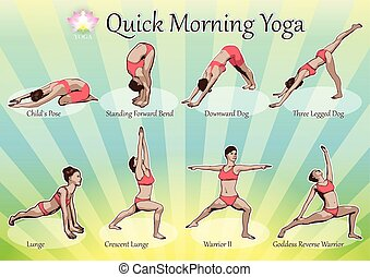 A set of yoga postures female figures: a sequence of exercise in the form of creative, visual poster for morning yoga