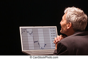 quick prayer - desperated man with charts on his laptop