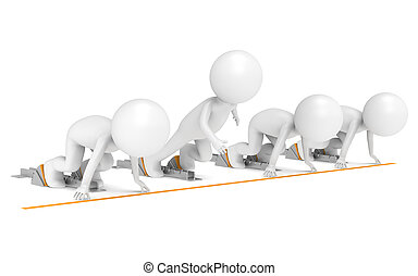 3D little human x4 The Athletes. Start Block. One the fastest. People series.