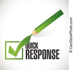 quick response check mark illustration design over a white ...
