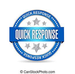 quick response seal illustration design over a white...