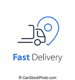 Quick ruck delivery concept, distribution services, logistics solution, transportation company, fast order shipping, express sending, vector thin line icon