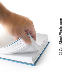 Male hand searching information by browsing pages of a book