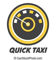 Quick taxi emblem logo design with color speedometer icon ...