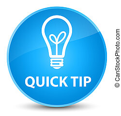 Quick tip (bulb icon) elegant cyan blue round button