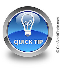 Quick tip (bulb icon) glossy blue round button