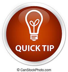 Quick tip (bulb icon) premium brown round button