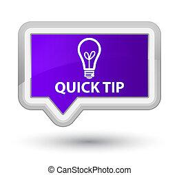 Quick tip (bulb icon) prime purple banner button