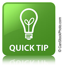 Quick tip (bulb icon) soft green square button