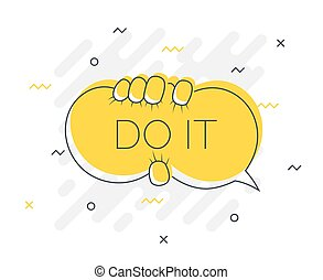 Quick Tips badge with DO IT speech bubble. Trendy flat vector on yellow background. Vector Illustration.