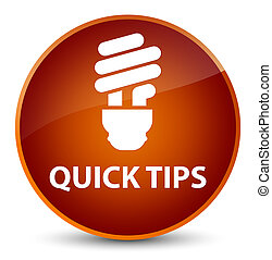 Quick tips (bulb icon) elegant brown round button