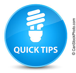 Quick tips (bulb icon) elegant cyan blue round button