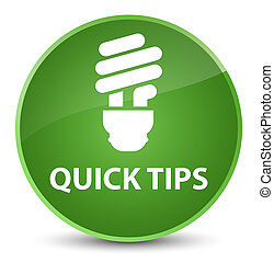 Quick tips (bulb icon) elegant soft green round button