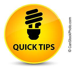 Quick tips (bulb icon) elegant yellow round button